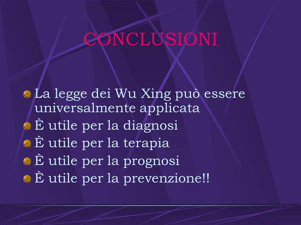 CONCLUSIONI La legge dei Wu Xing può essere universalmente applicata
