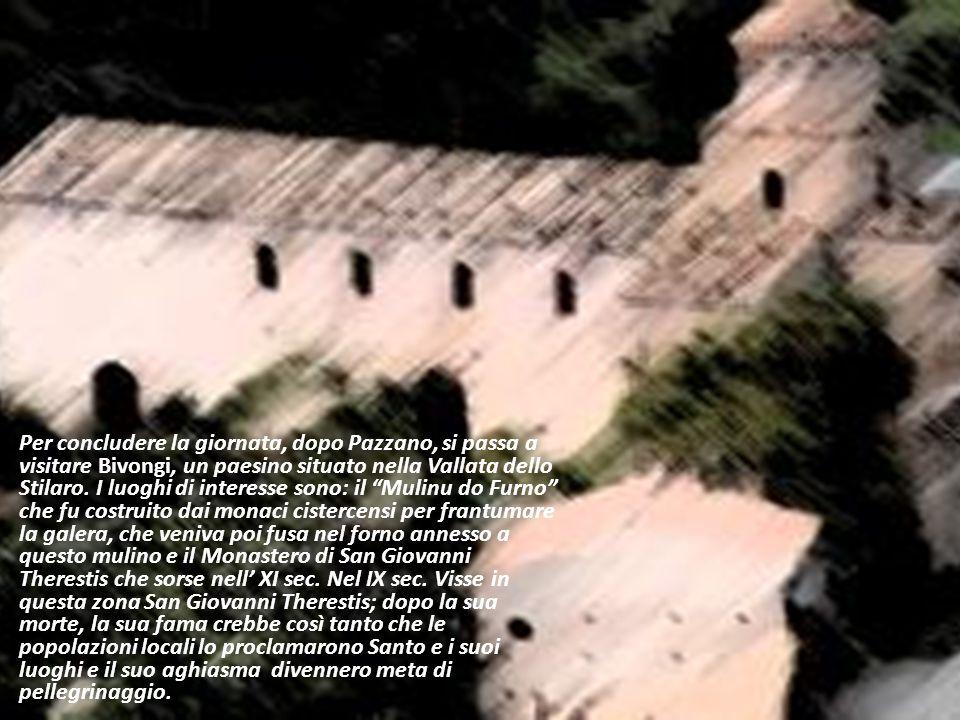Per concludere la giornata, dopo Pazzano, si passa a visitare Bivongi, un paesino situato nella Vallata dello Stilaro. I luoghi di interesse sono: il Mulinu do Furno che fu costruito dai monaci cistercensi per frantumare la galera, che veniva poi fusa nel forno annesso a questo mulino e il Monastero di San Giovanni Therestis che sorse nell' XI sec. Nel IX sec. Visse in questa zona San Giovanni Therestis; dopo la sua morte, la sua fama crebbe così tanto che le popolazioni locali lo proclamarono Santo e i suoi luoghi e il suo aghiasma divennero meta di pellegrinaggio.