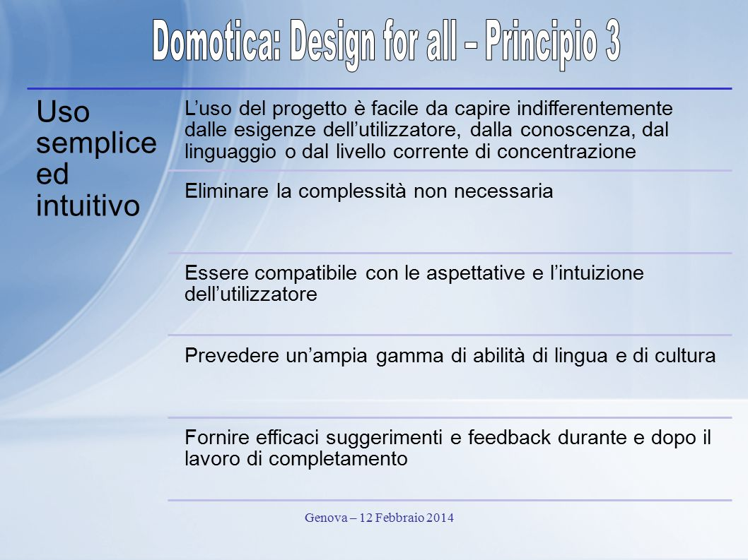 Domotica: Design for all – Principio 3