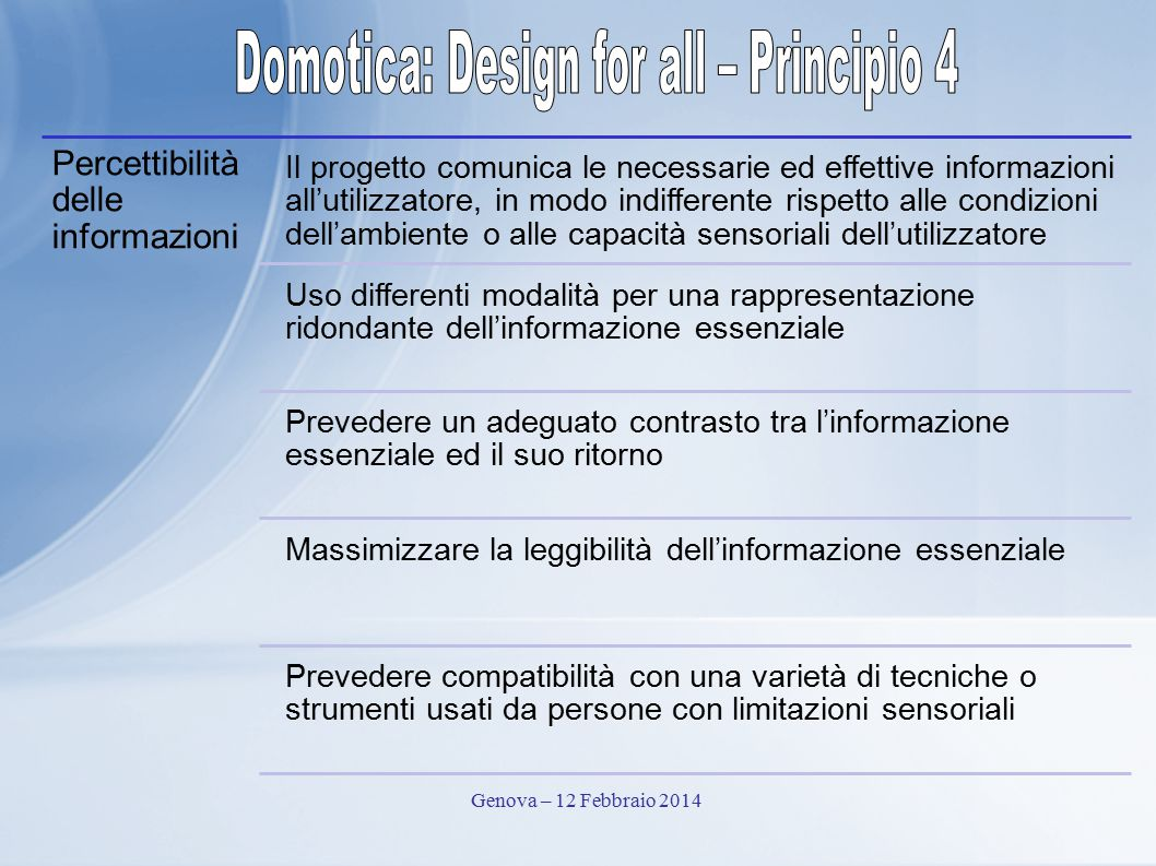 Domotica: Design for all – Principio 4