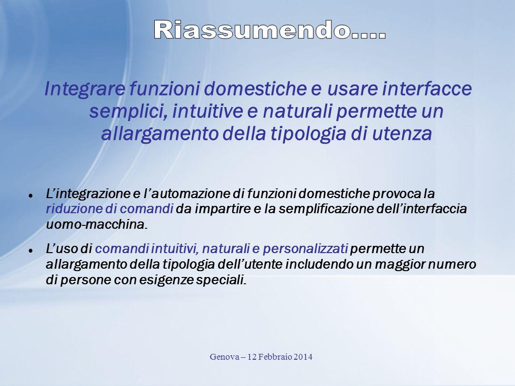Riassumendo.... Integrare funzioni domestiche e usare interfacce semplici, intuitive e naturali permette un allargamento della tipologia di utenza.