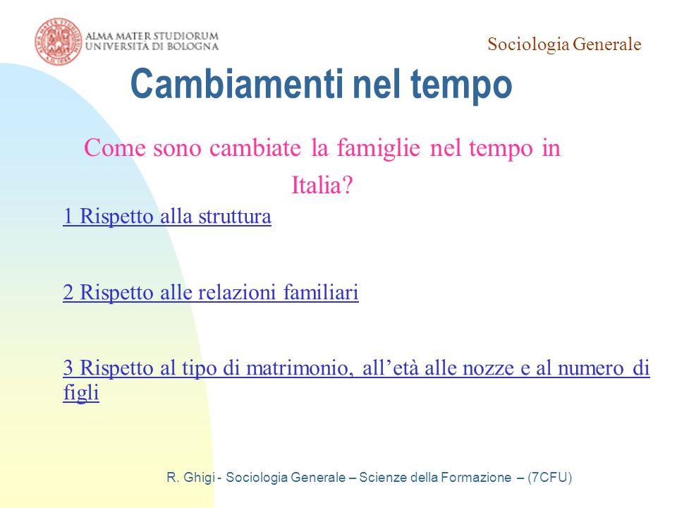 Cambiamenti nel tempo Come sono cambiate la famiglie nel tempo in Italia 1 Rispetto alla struttura.