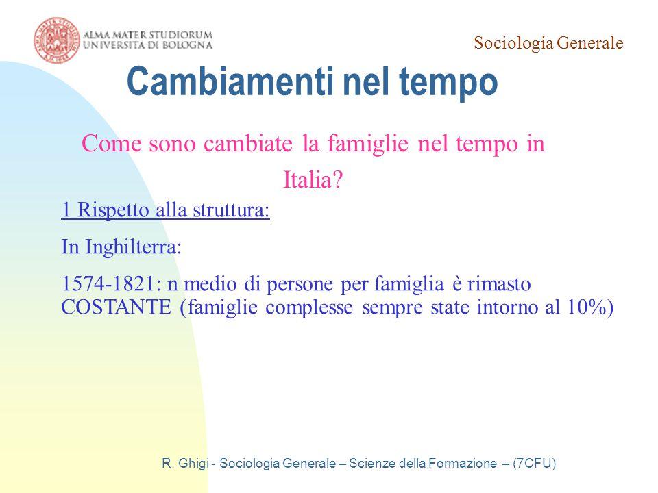 Cambiamenti nel tempo Come sono cambiate la famiglie nel tempo in Italia 1 Rispetto alla struttura:
