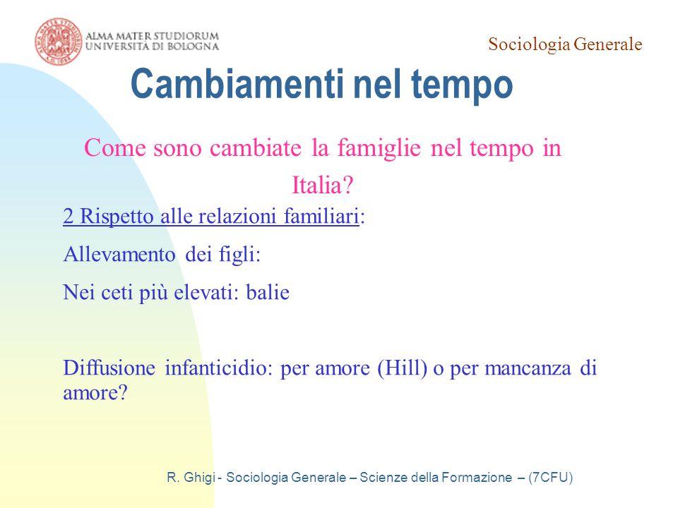 Cambiamenti nel tempo Come sono cambiate la famiglie nel tempo in Italia 2 Rispetto alle relazioni familiari:
