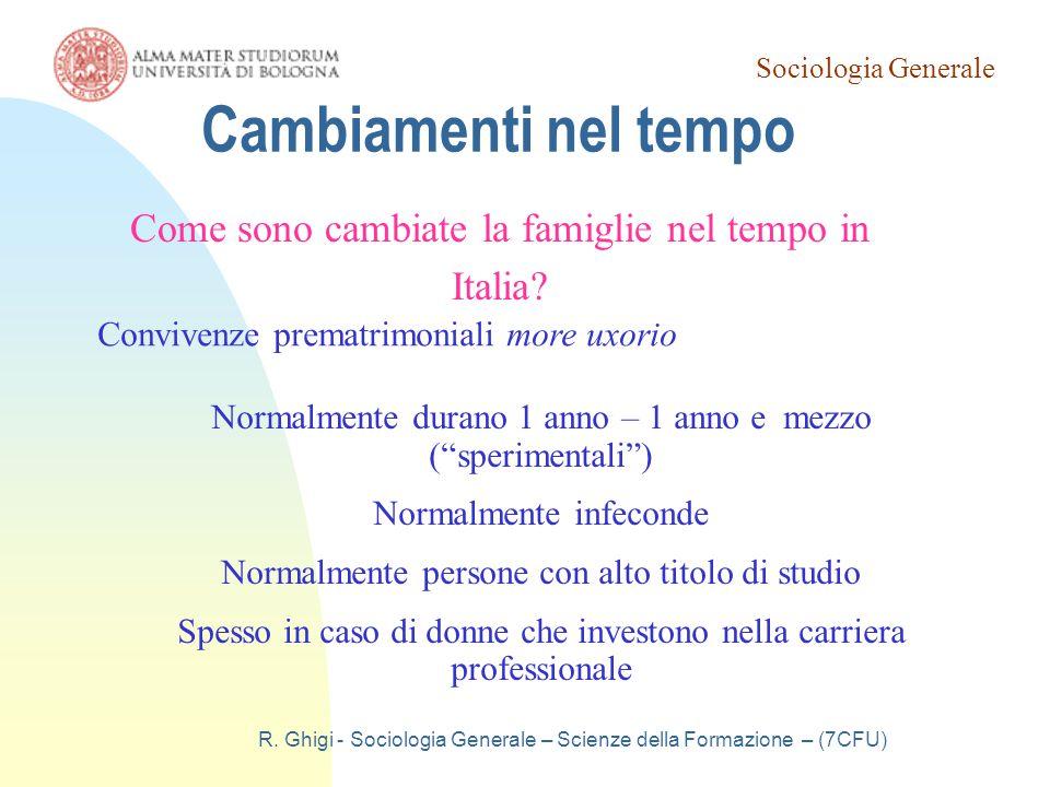 Cambiamenti nel tempo Come sono cambiate la famiglie nel tempo in Italia Convivenze prematrimoniali more uxorio.