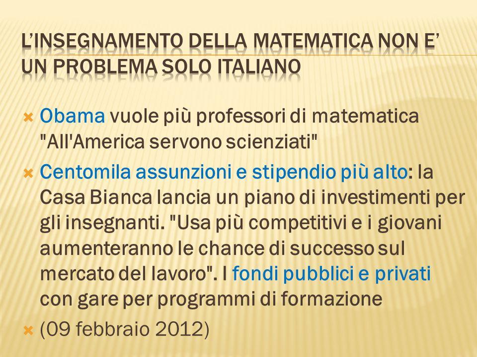 L'insegnamento della matematica non e' un problema solo italiano
