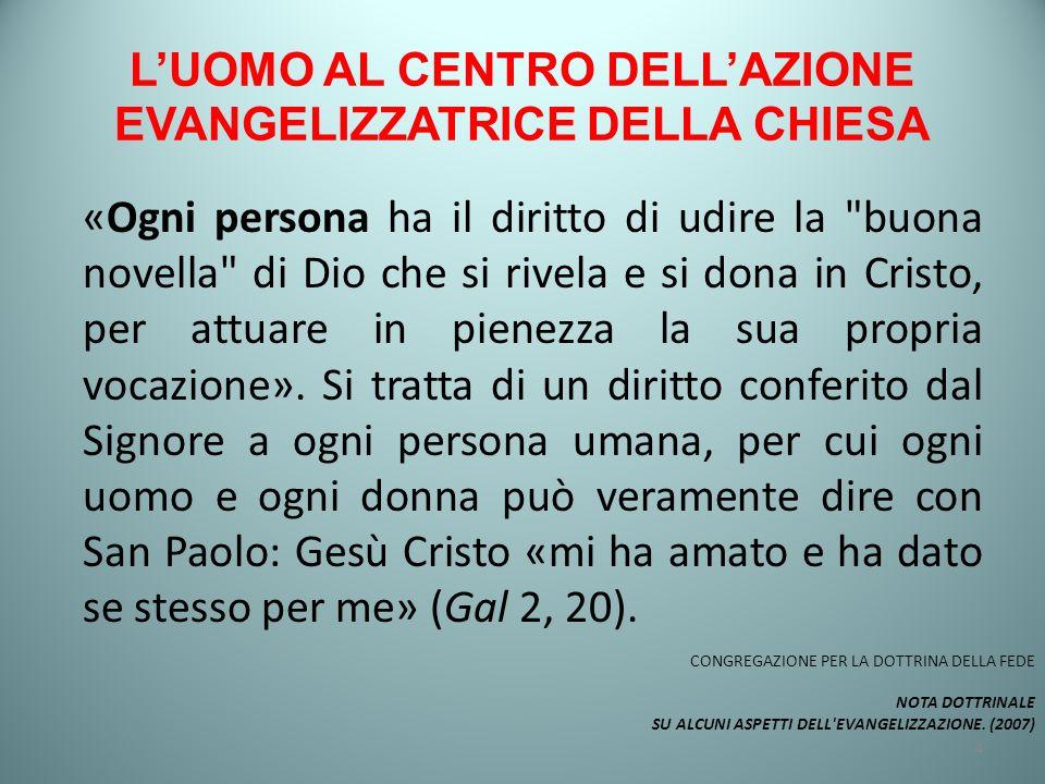 L'UOMO AL CENTRO DELL'AZIONE EVANGELIZZATRICE DELLA CHIESA