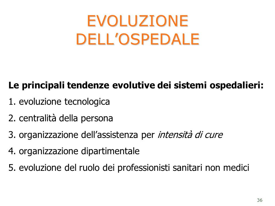 EVOLUZIONE DELL'OSPEDALE