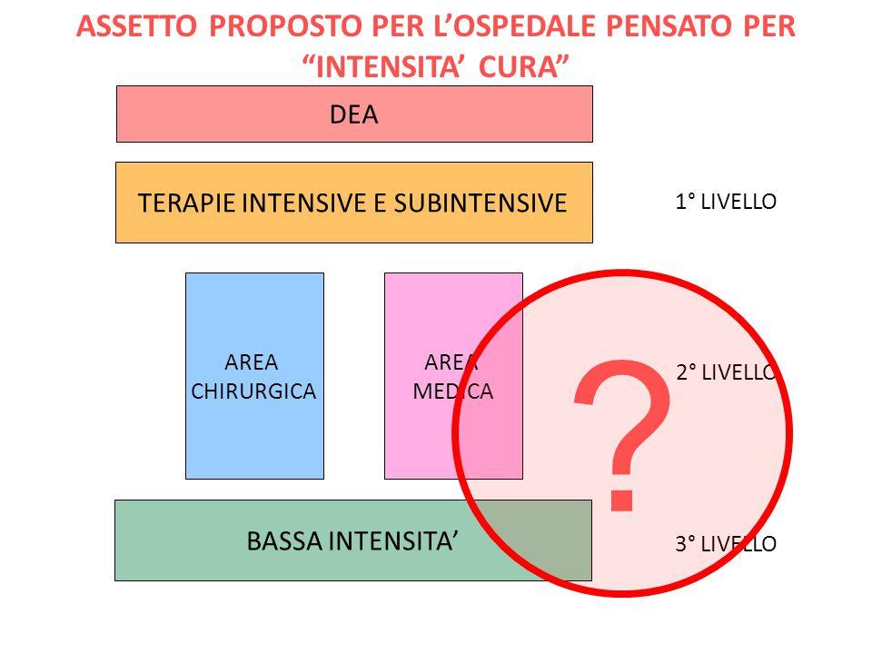 ASSETTO PROPOSTO PER L'OSPEDALE PENSATO PER INTENSITA' CURA