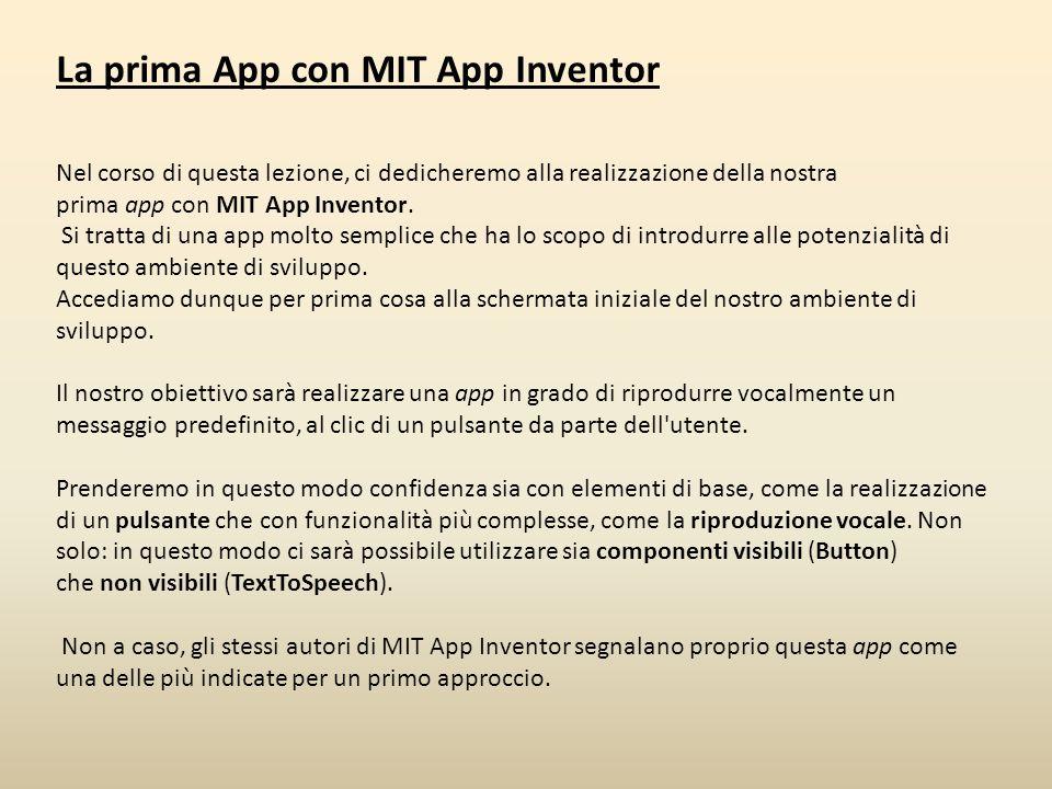 La prima App con MIT App Inventor