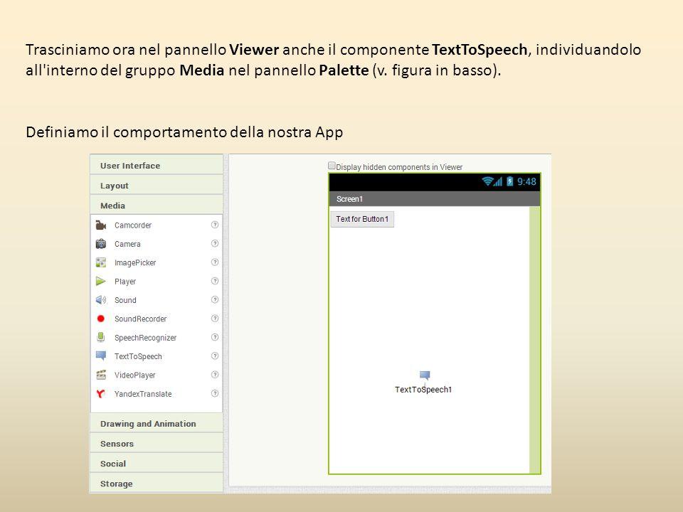 Trasciniamo ora nel pannello Viewer anche il componente TextToSpeech, individuandolo all interno del gruppo Media nel pannello Palette (v. figura in basso).