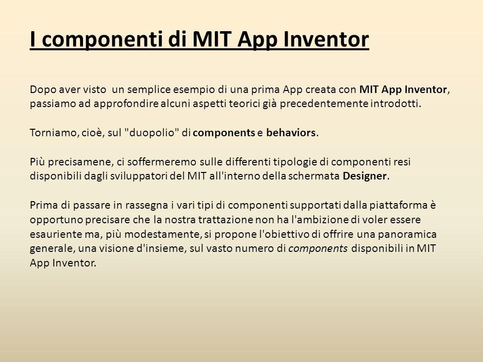 I componenti di MIT App Inventor