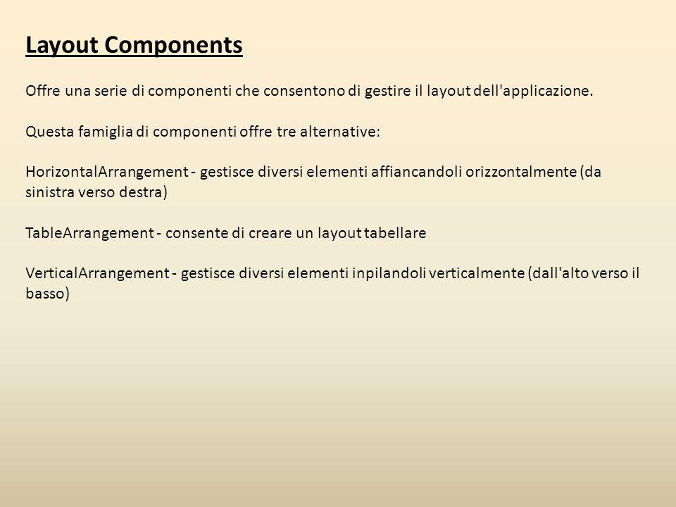 Layout Components Offre una serie di componenti che consentono di gestire il layout dell applicazione.