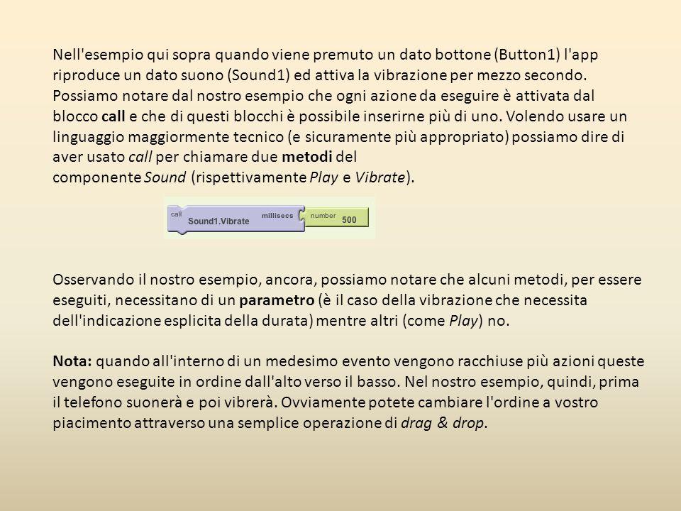 Nell esempio qui sopra quando viene premuto un dato bottone (Button1) l app riproduce un dato suono (Sound1) ed attiva la vibrazione per mezzo secondo.