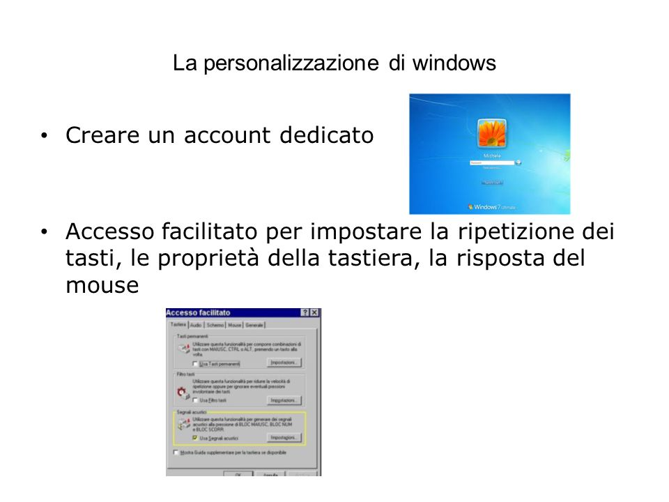 La personalizzazione di windows