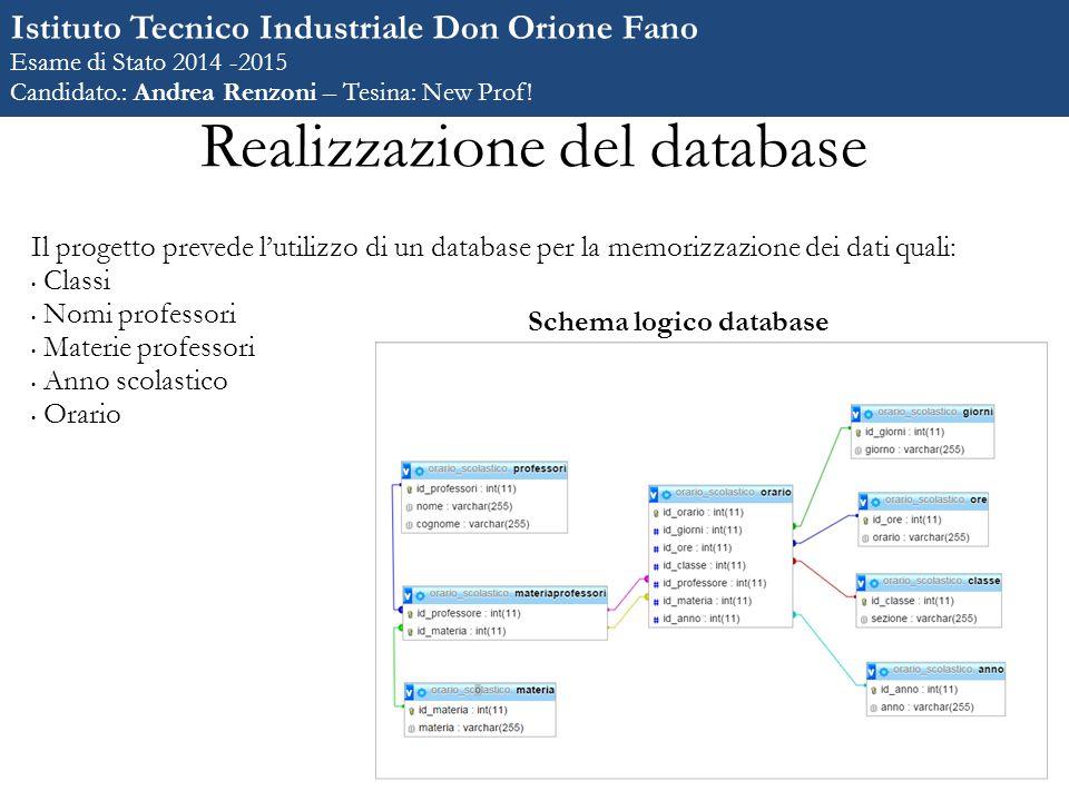 Realizzazione del database