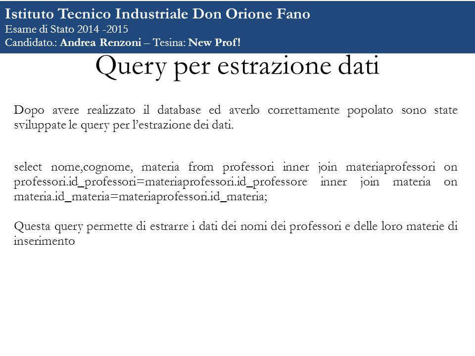 Query per estrazione dati