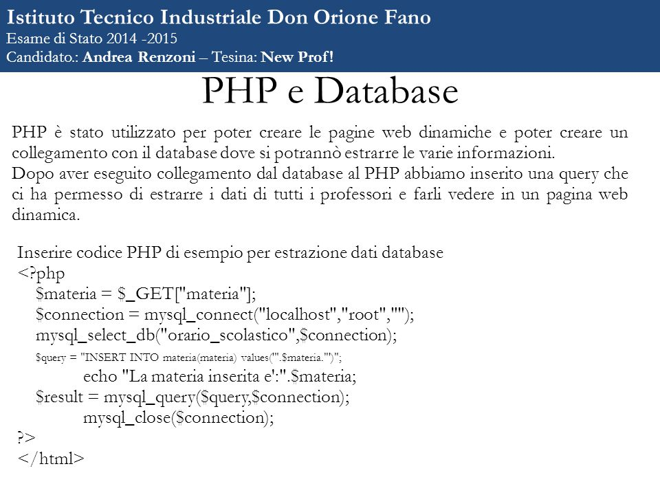 PHP e Database Istituto Tecnico Industriale Don Orione Fano