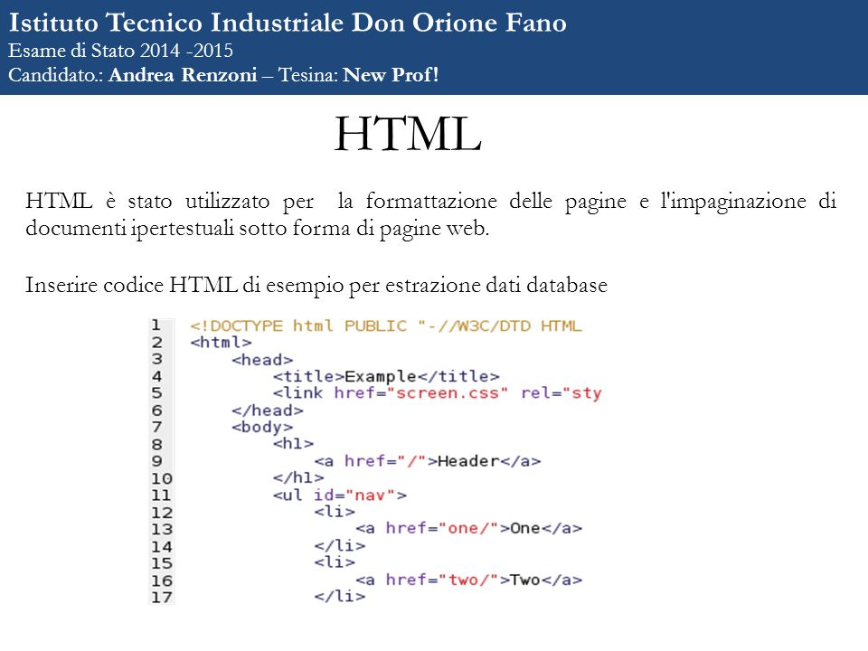 HTML Istituto Tecnico Industriale Don Orione Fano