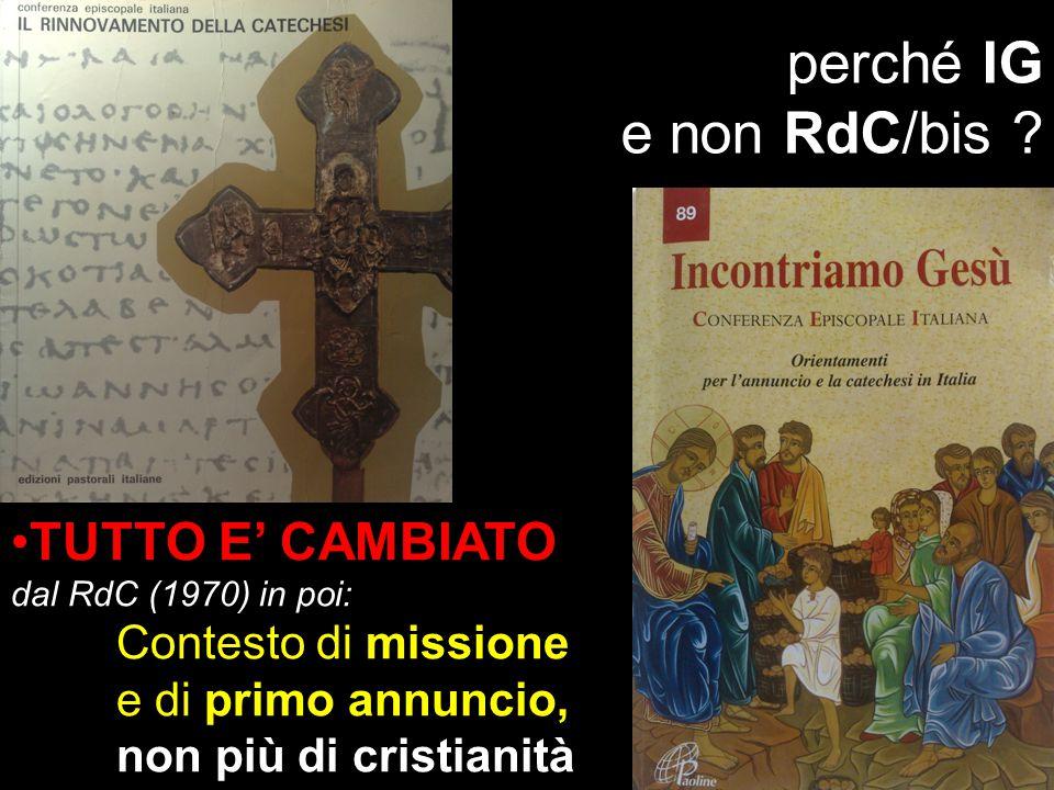 perché IG e non RdC/bis TUTTO E' CAMBIATO dal RdC (1970) in poi: