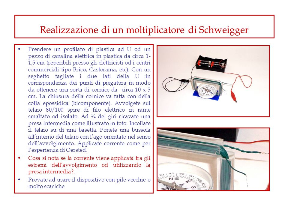 Realizzazione di un moltiplicatore di Schweigger