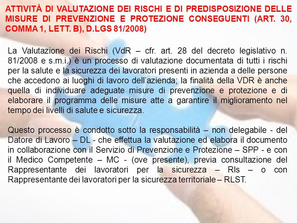ATTIVITÀ DI VALUTAZIONE DEI RISCHI E DI PREDISPOSIZIONE DELLE MISURE DI PREVENZIONE E PROTEZIONE CONSEGUENTI (ART. 30, COMMA 1, LETT. B), D.LGS 81/2008)