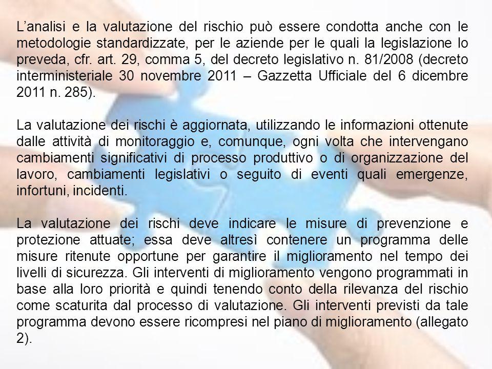 L'analisi e la valutazione del rischio può essere condotta anche con le metodologie standardizzate, per le aziende per le quali la legislazione lo preveda, cfr. art. 29, comma 5, del decreto legislativo n. 81/2008 (decreto interministeriale 30 novembre 2011 – Gazzetta Ufficiale del 6 dicembre 2011 n. 285).