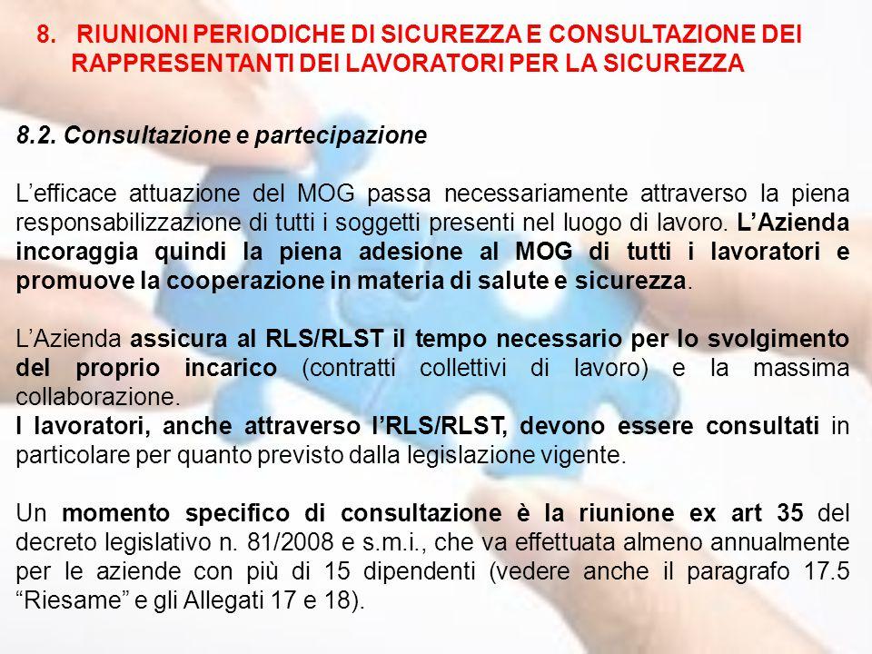 8. RIUNIONI PERIODICHE DI SICUREZZA E CONSULTAZIONE DEI