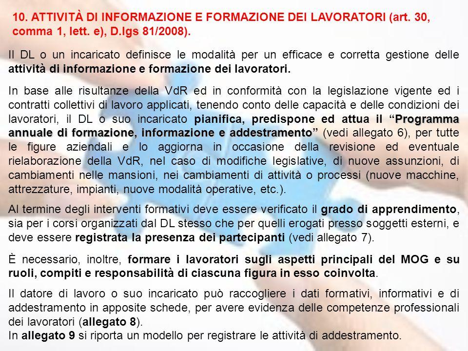 10. ATTIVITÀ DI INFORMAZIONE E FORMAZIONE DEI LAVORATORI (art