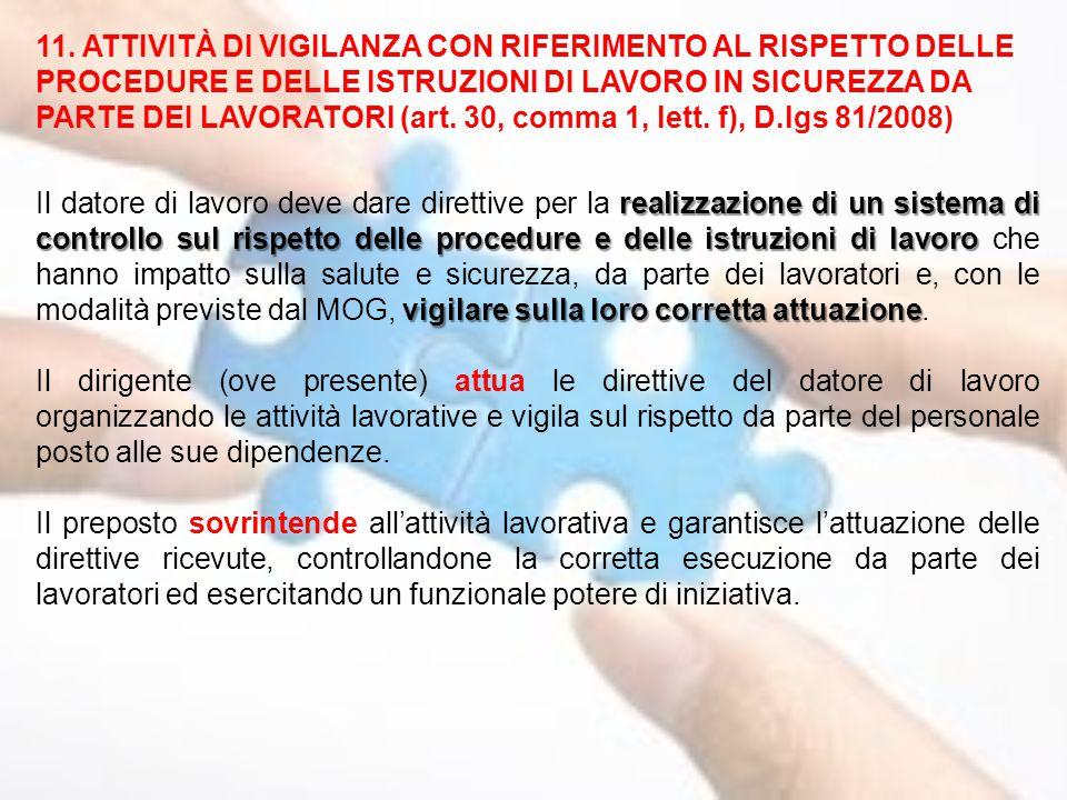 11. ATTIVITÀ DI VIGILANZA CON RIFERIMENTO AL RISPETTO DELLE PROCEDURE E DELLE ISTRUZIONI DI LAVORO IN SICUREZZA DA PARTE DEI LAVORATORI (art. 30, comma 1, lett. f), D.lgs 81/2008)