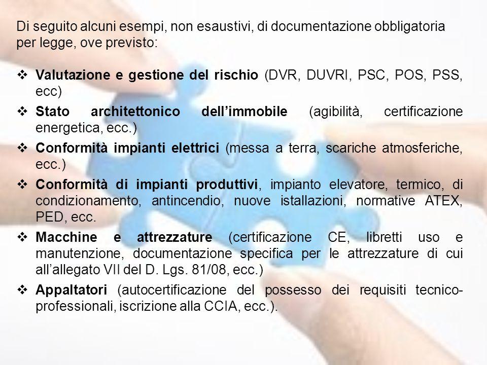 Di seguito alcuni esempi, non esaustivi, di documentazione obbligatoria per legge, ove previsto: