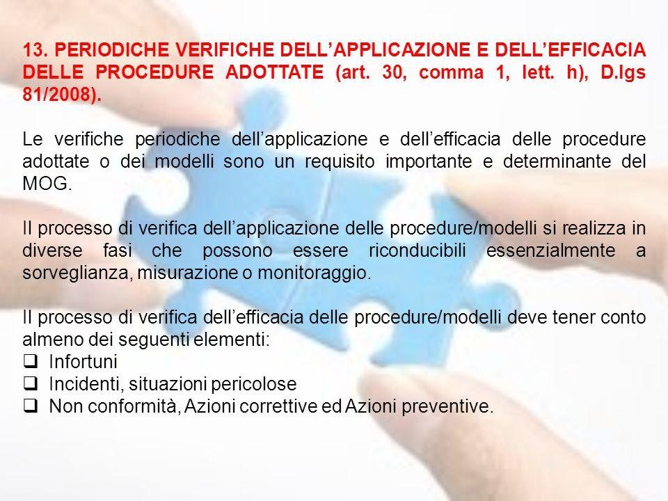 13. PERIODICHE VERIFICHE DELL'APPLICAZIONE E DELL'EFFICACIA DELLE PROCEDURE ADOTTATE (art. 30, comma 1, lett. h), D.lgs 81/2008).