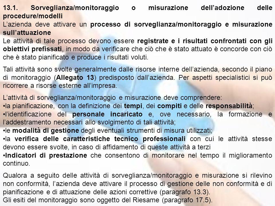 13.1. Sorveglianza/monitoraggio o misurazione dell'adozione delle procedure/modelli