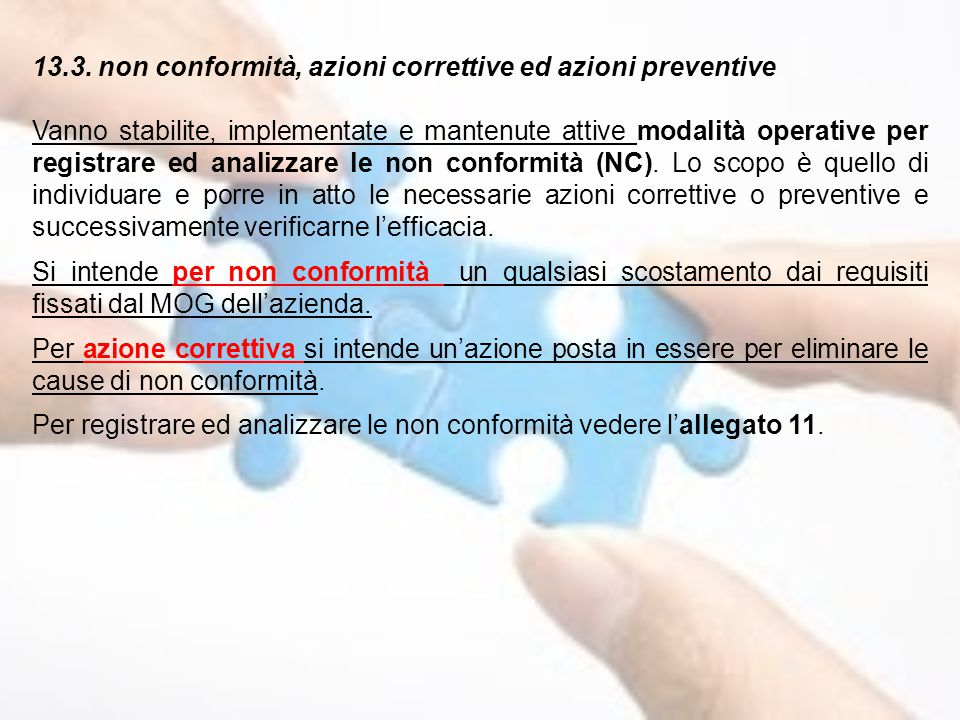 13.3. non conformità, azioni correttive ed azioni preventive