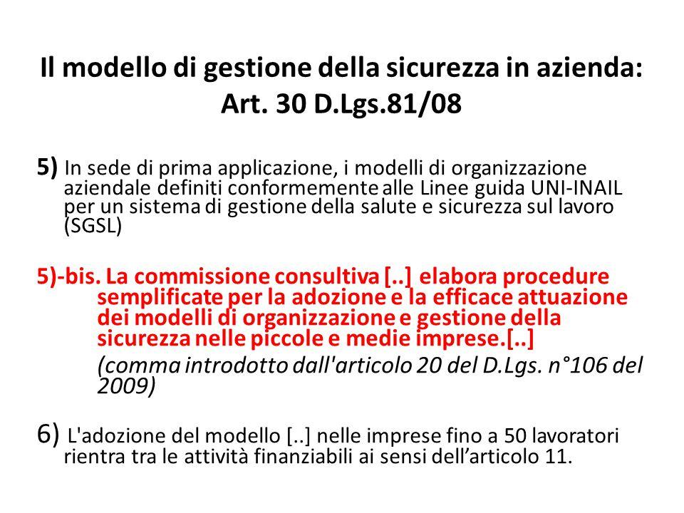 Il modello di gestione della sicurezza in azienda: Art. 30 D.Lgs.81/08
