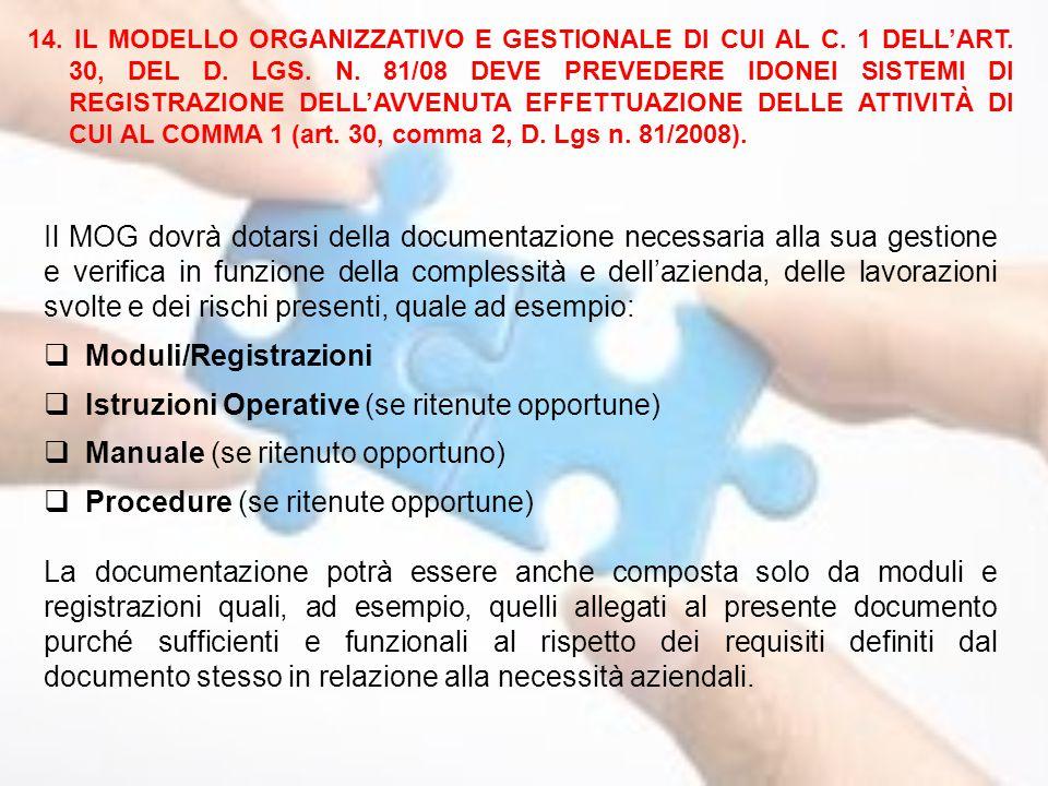 Moduli/Registrazioni Istruzioni Operative (se ritenute opportune)