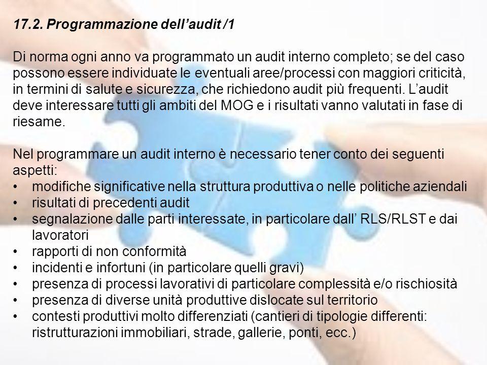 17.2. Programmazione dell'audit /1