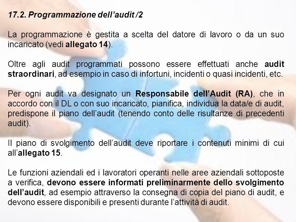 17.2. Programmazione dell'audit /2
