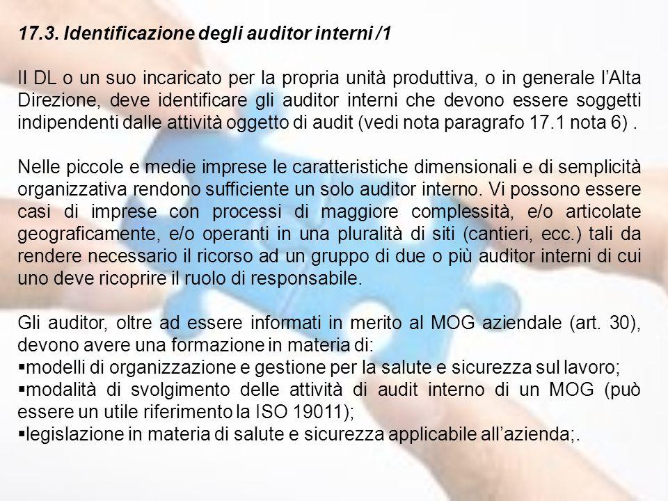 17.3. Identificazione degli auditor interni /1