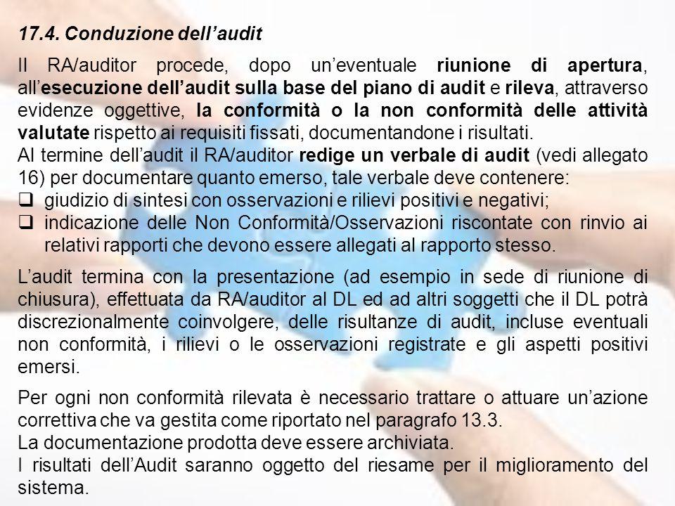 17.4. Conduzione dell'audit