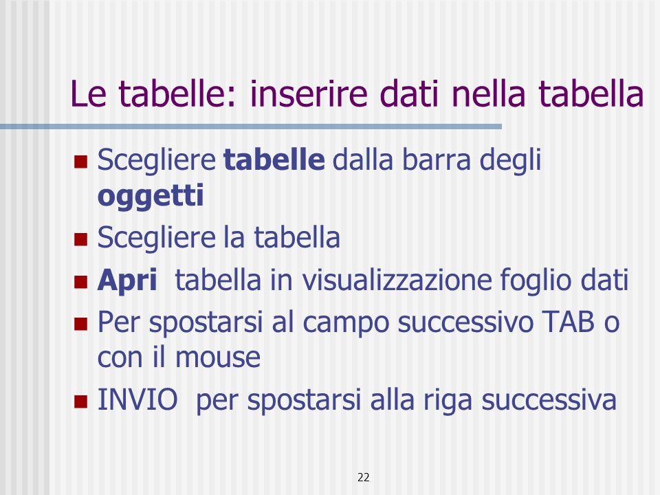 Le tabelle: inserire dati nella tabella