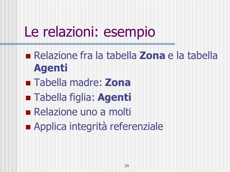 Le relazioni: esempio Relazione fra la tabella Zona e la tabella Agenti. Tabella madre: Zona. Tabella figlia: Agenti.
