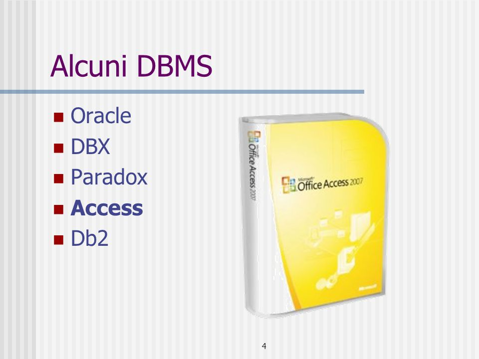Alcuni DBMS Oracle DBX Paradox Access Db2 4