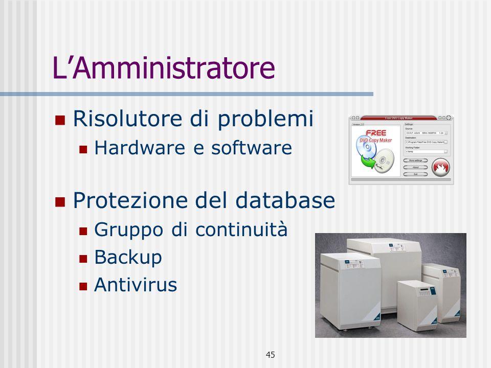 L'Amministratore Risolutore di problemi Protezione del database