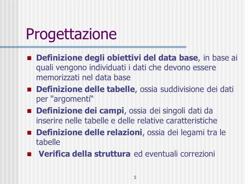 Progettazione Definizione degli obiettivi del data base, in base ai quali vengono individuati i dati che devono essere memorizzati nel data base.