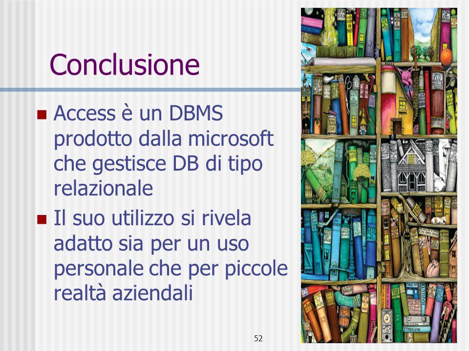 Conclusione Access è un DBMS prodotto dalla microsoft che gestisce DB di tipo relazionale.