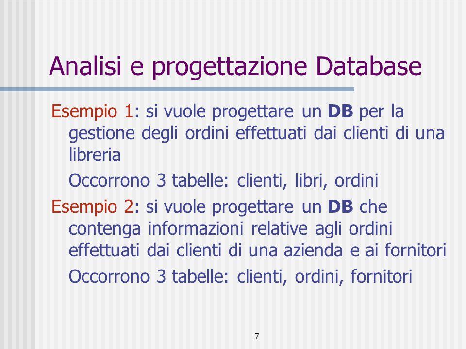 Analisi e progettazione Database