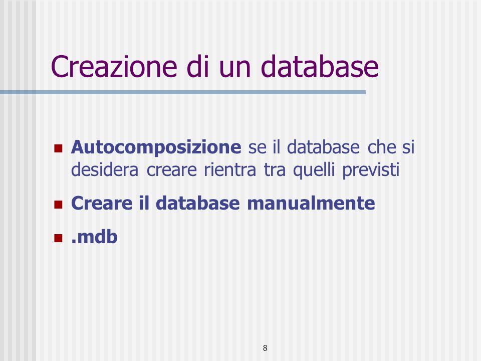 Creazione di un database