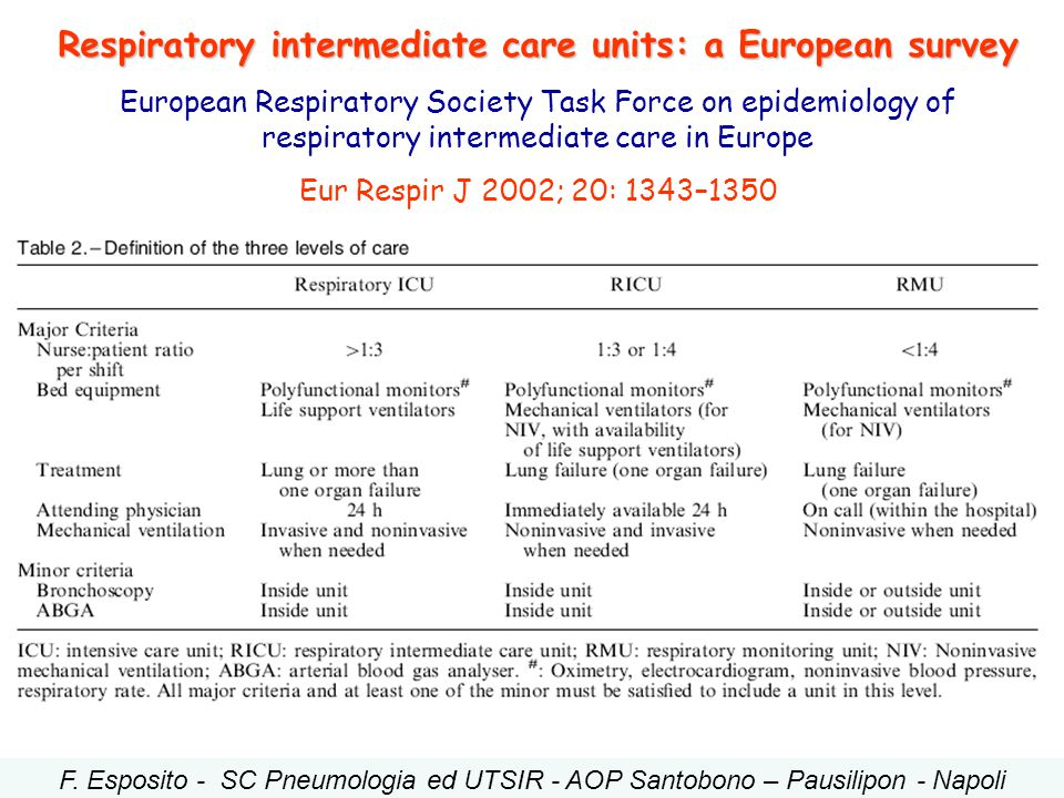 Respiratory intermediate care units: a European survey