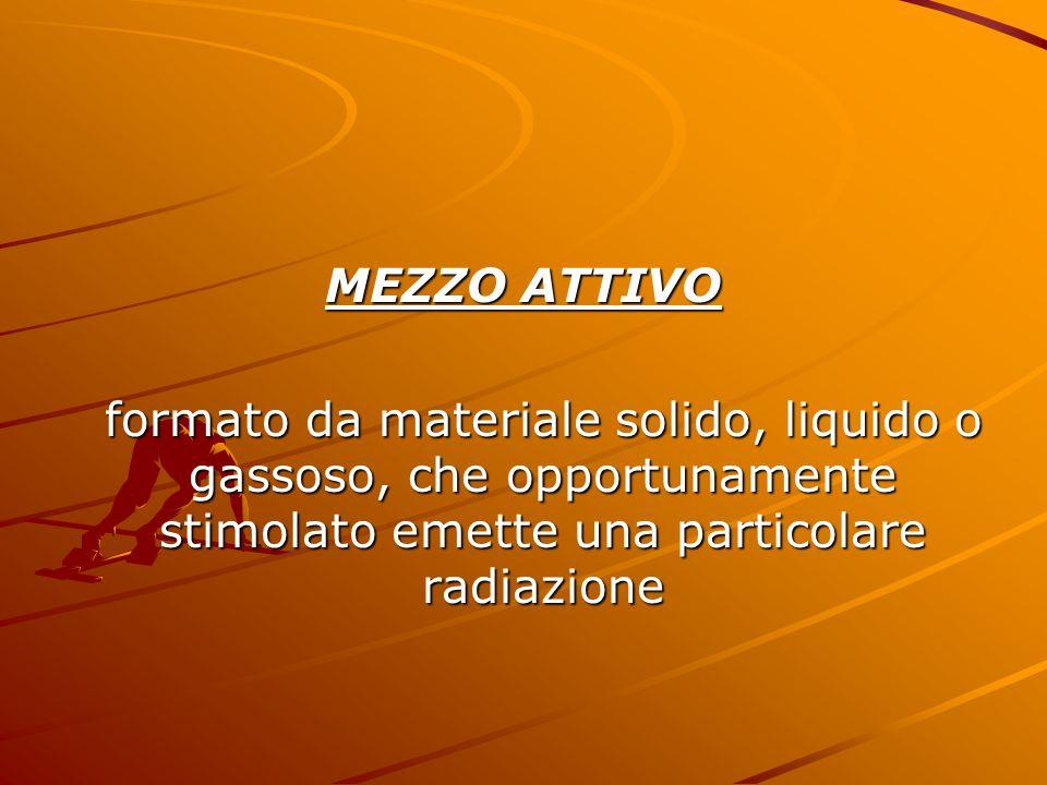 MEZZO ATTIVO formato da materiale solido, liquido o gassoso, che opportunamente stimolato emette una particolare radiazione.